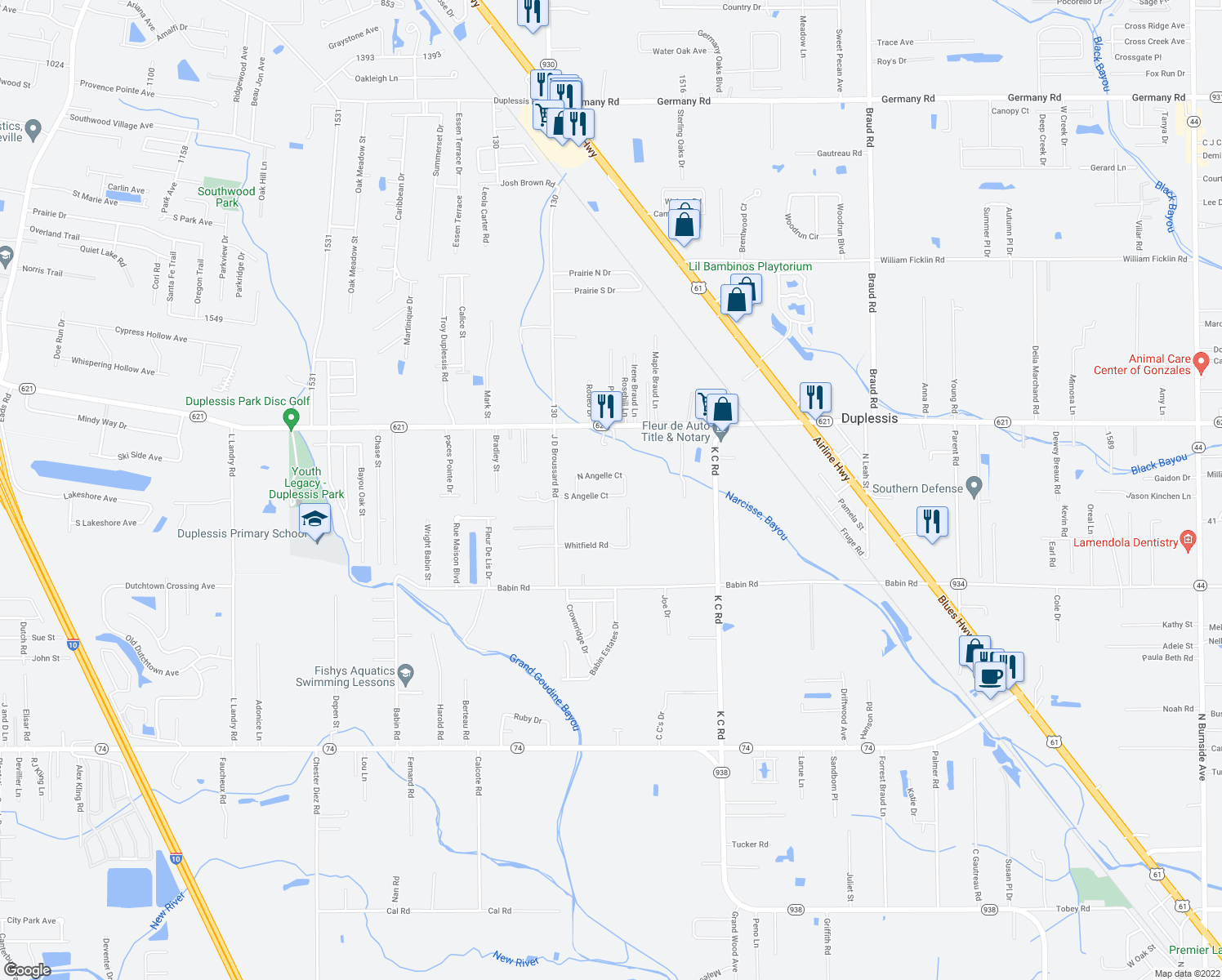 map of restaurants, bars, coffee shops, grocery stores, and more near 39073 North Angelle Court in Gonzales
