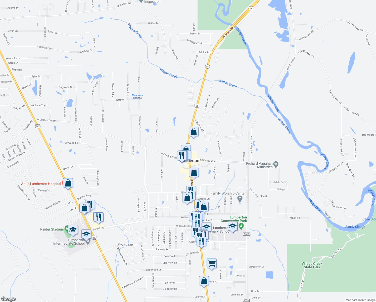 map of restaurants, bars, coffee shops, grocery stores, and more near 903-913 North Main Street in Lumberton