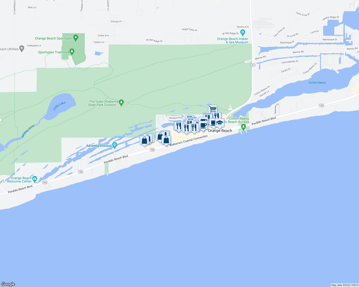 map of restaurants, bars, coffee shops, grocery stores, and more near 26115 Perdido Beach Boulevard in Orange Beach