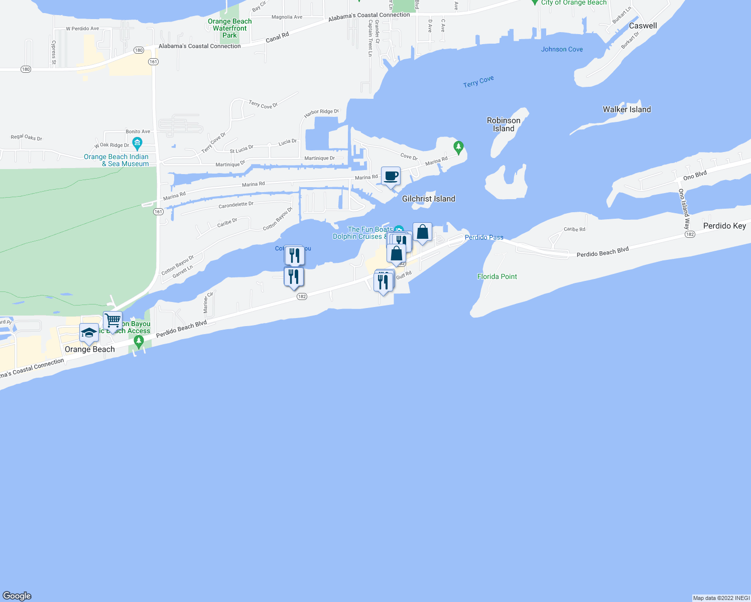 map of restaurants, bars, coffee shops, grocery stores, and more near 27120 Perdido Beach Boulevard in Orange Beach