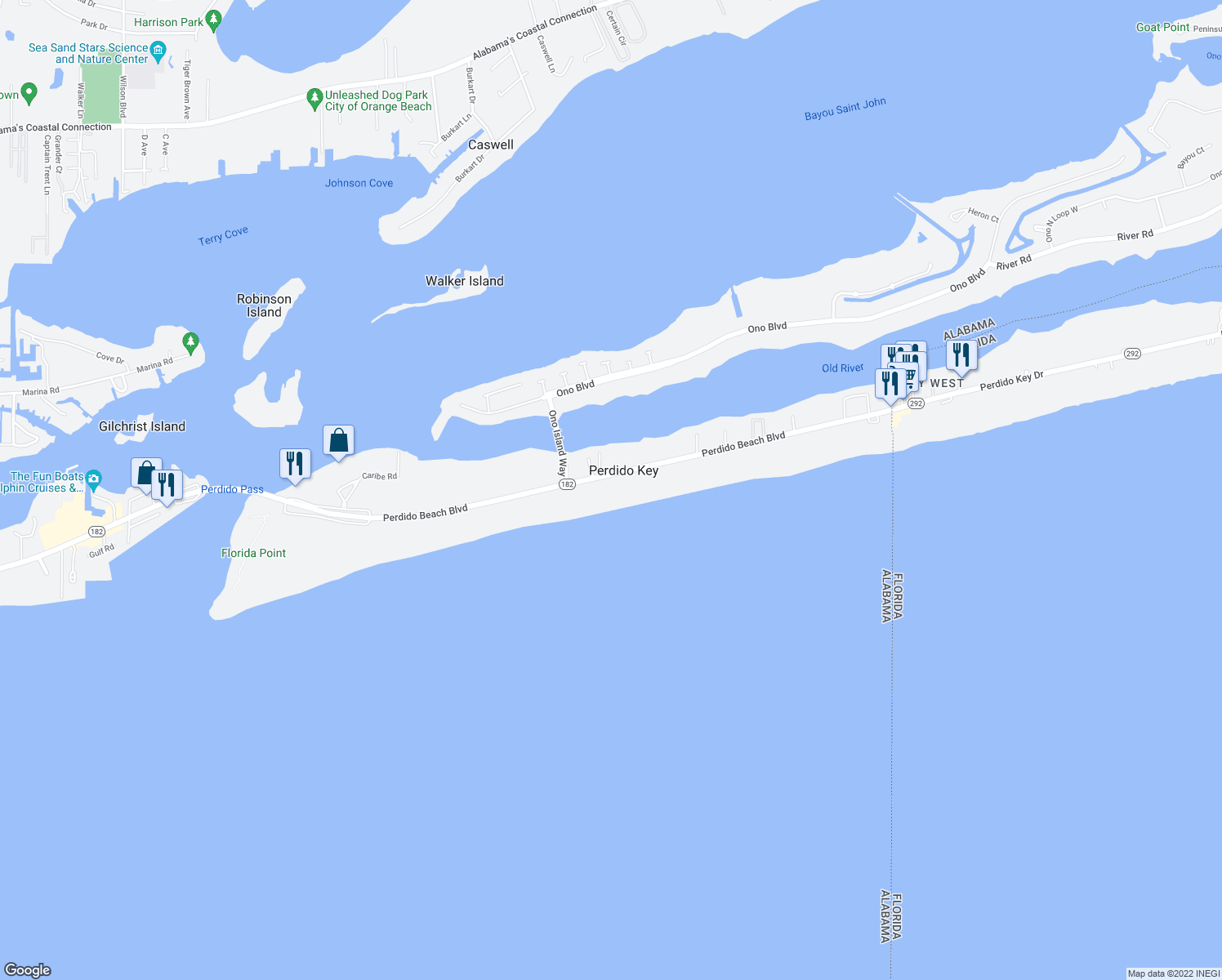 map of restaurants, bars, coffee shops, grocery stores, and more near 28828 Perdido Beach Boulevard in Orange Beach