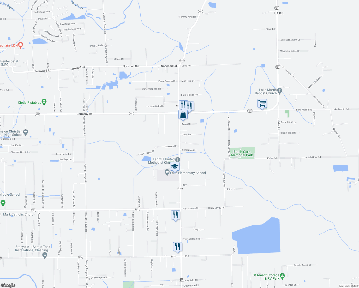map of restaurants, bars, coffee shops, grocery stores, and more near 44034 La Coulee Road in Saint Amant