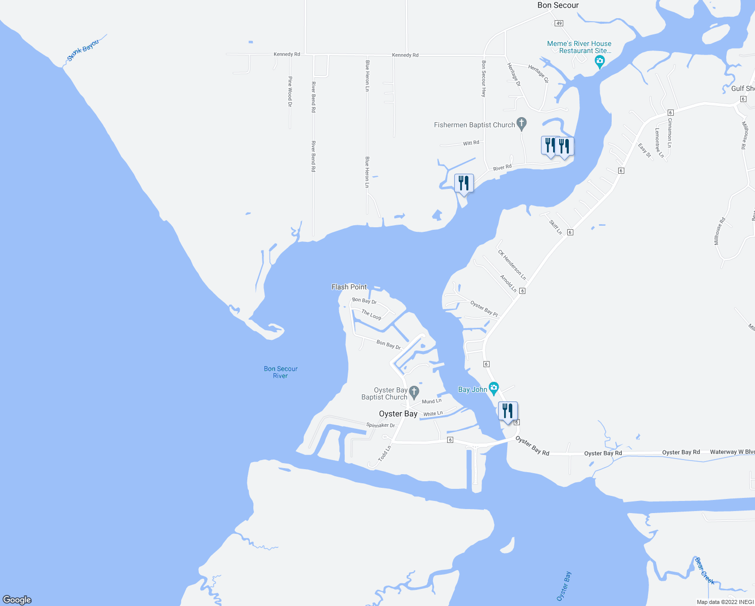 map of restaurants, bars, coffee shops, grocery stores, and more near Bon Bay Drive in Gulf Shores