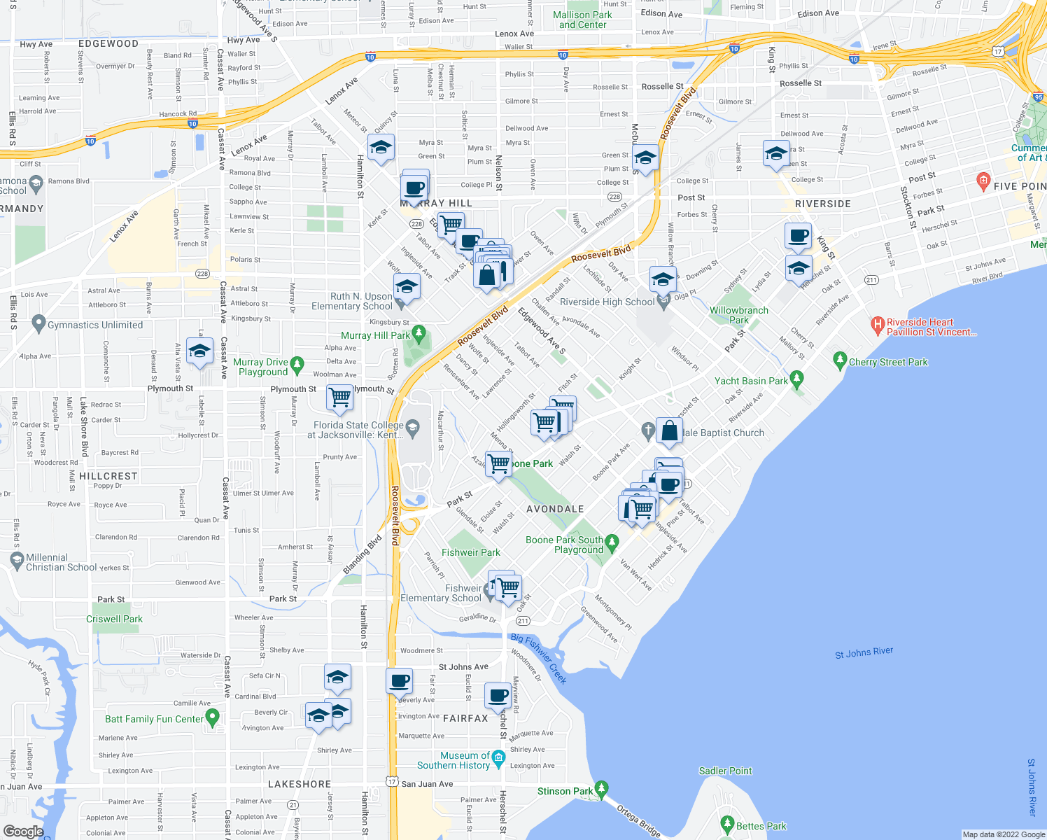 map of restaurants, bars, coffee shops, grocery stores, and more near 1382 Dancy Street in Jacksonville