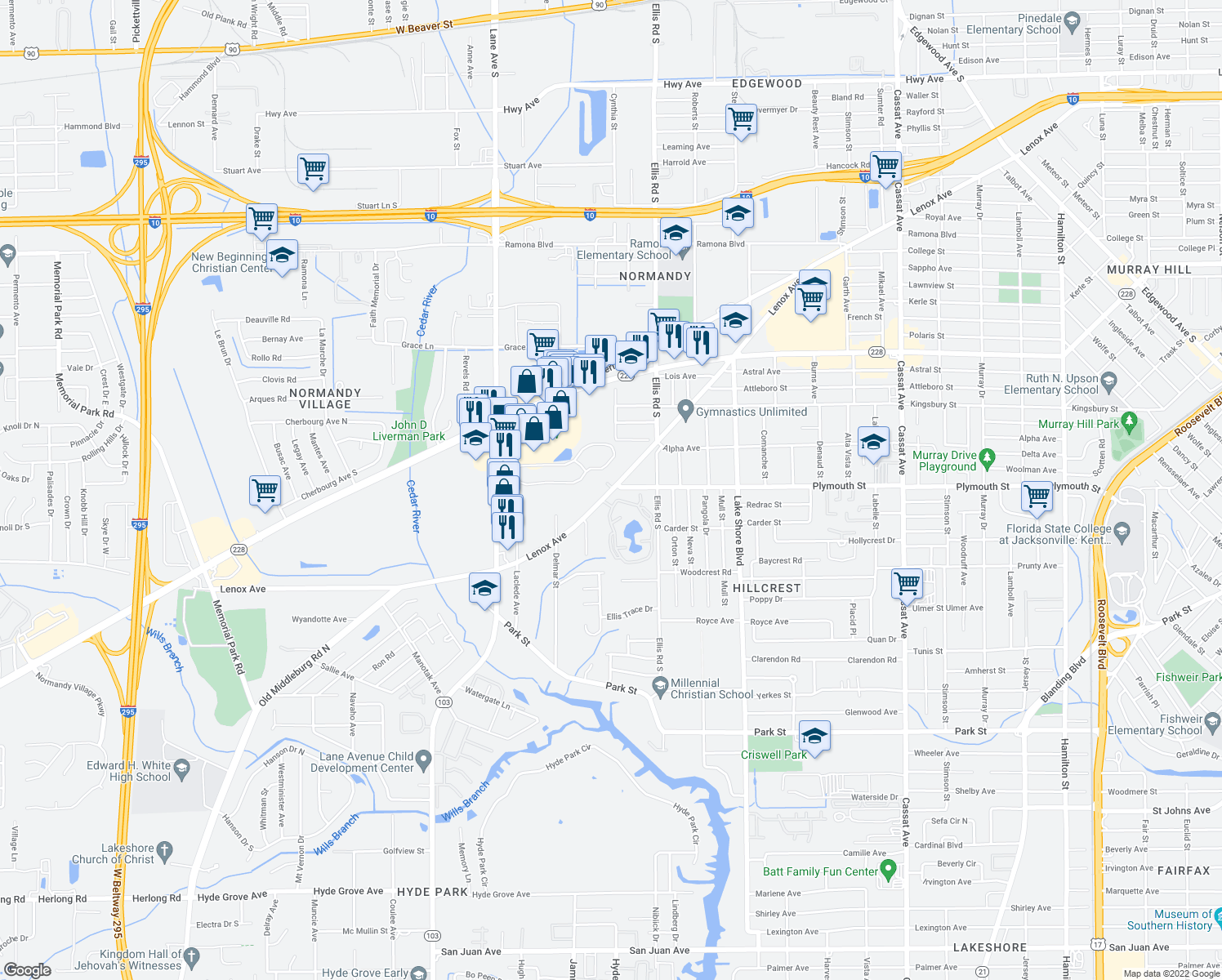 map of restaurants, bars, coffee shops, grocery stores, and more near 5600-5698 Plymouth Street in Jacksonville
