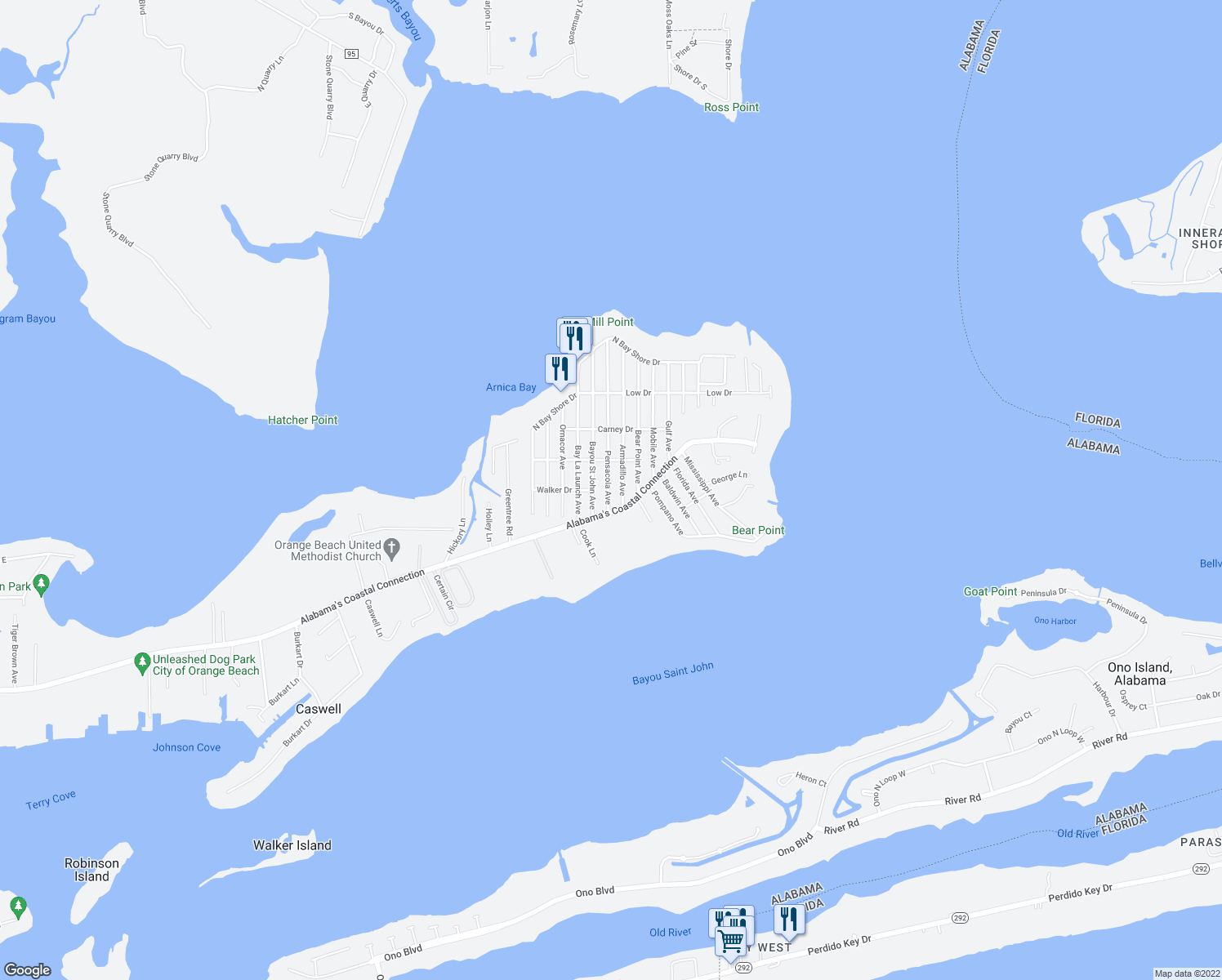map of restaurants, bars, coffee shops, grocery stores, and more near 5384 Pensacola Avenue in Orange Beach