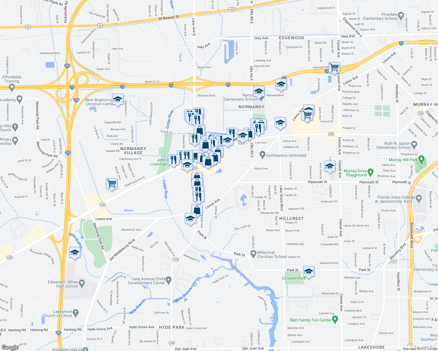 map of restaurants, bars, coffee shops, grocery stores, and more near 1171 Lane Avenue South in Jacksonville
