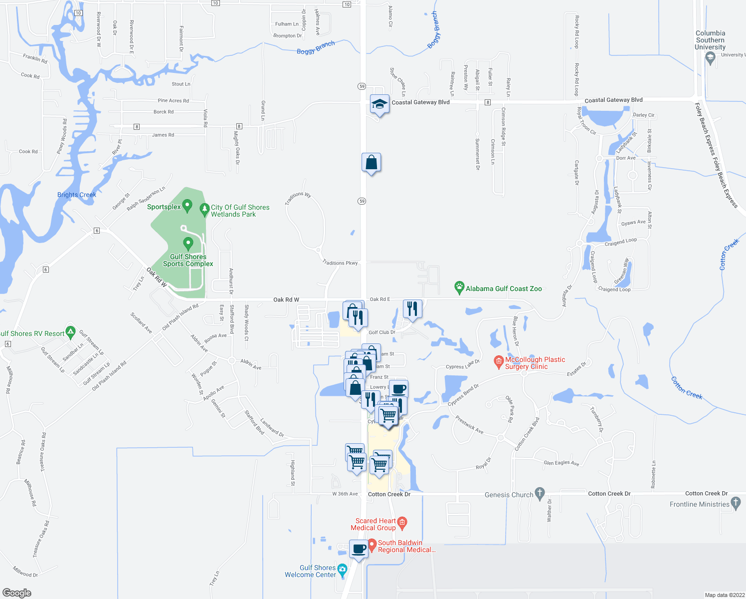 map of restaurants, bars, coffee shops, grocery stores, and more near 20050 Oak Road East in Gulf Shores