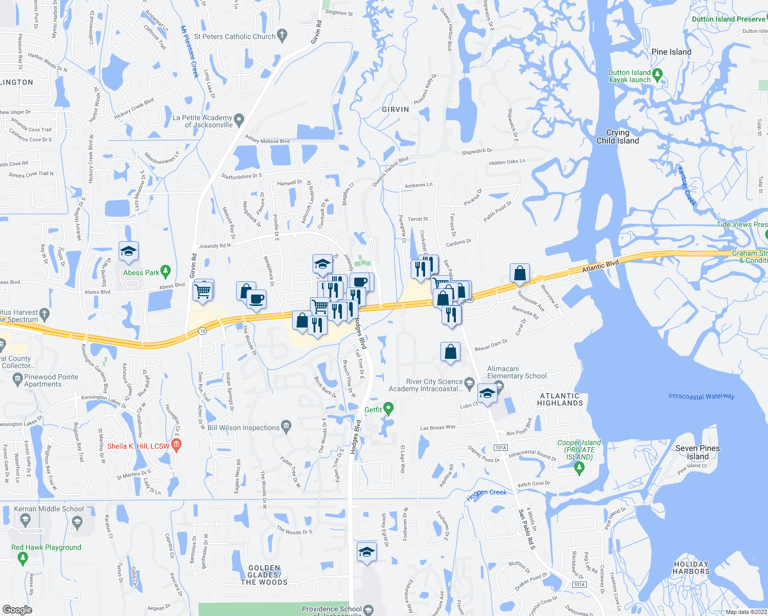 map of restaurants, bars, coffee shops, grocery stores, and more near 13429-13435 Atlantic Boulevard in Jacksonville
