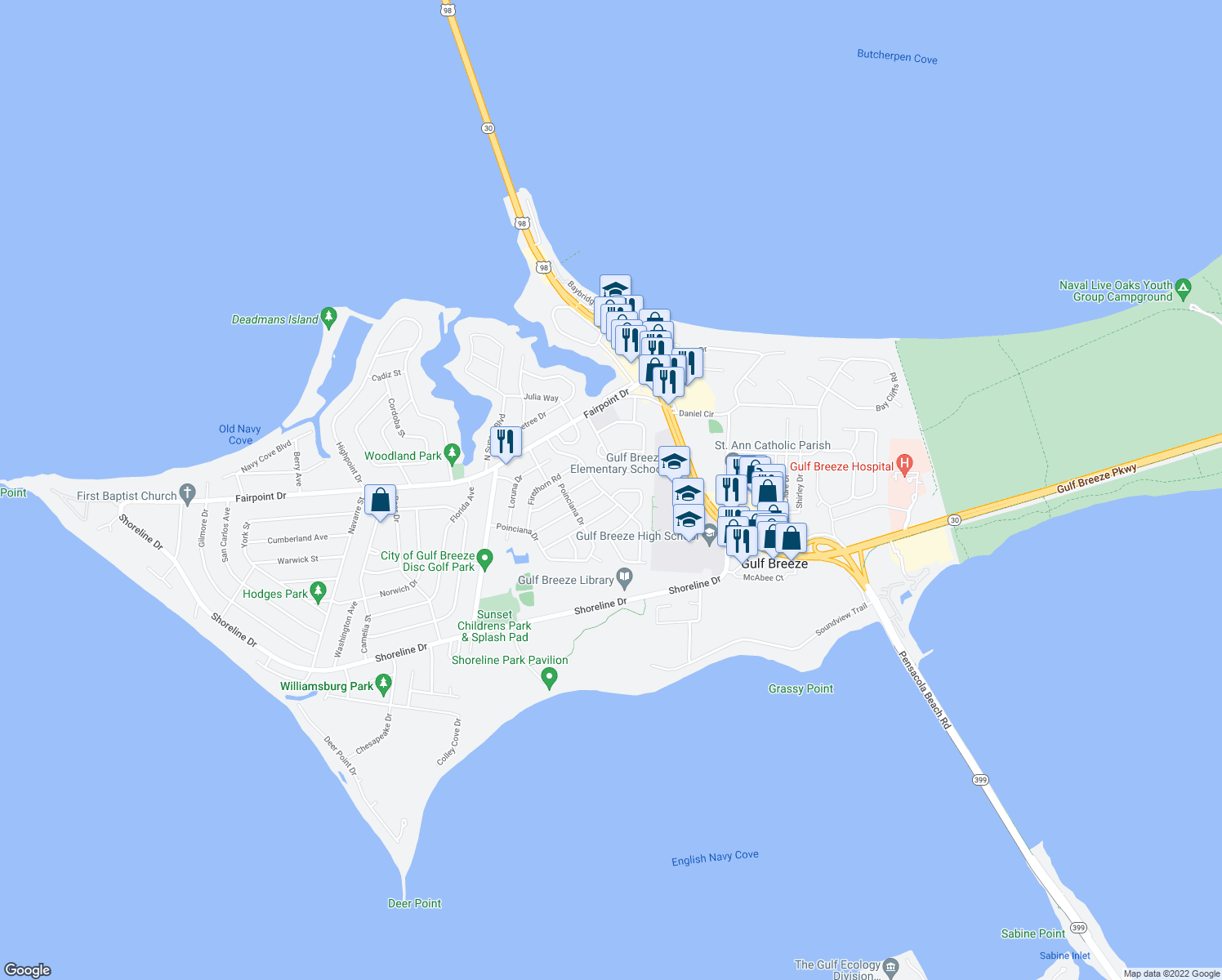 map of restaurants, bars, coffee shops, grocery stores, and more near 312 Silverthorn Road in Gulf Breeze