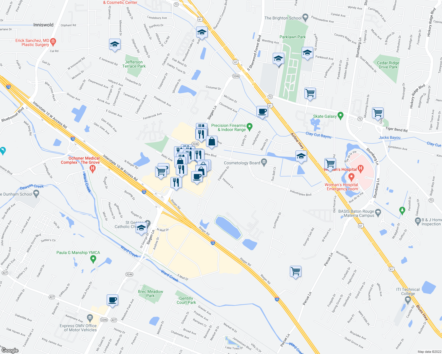 map of restaurants, bars, coffee shops, grocery stores, and more near Honore Ln in Baton Rouge
