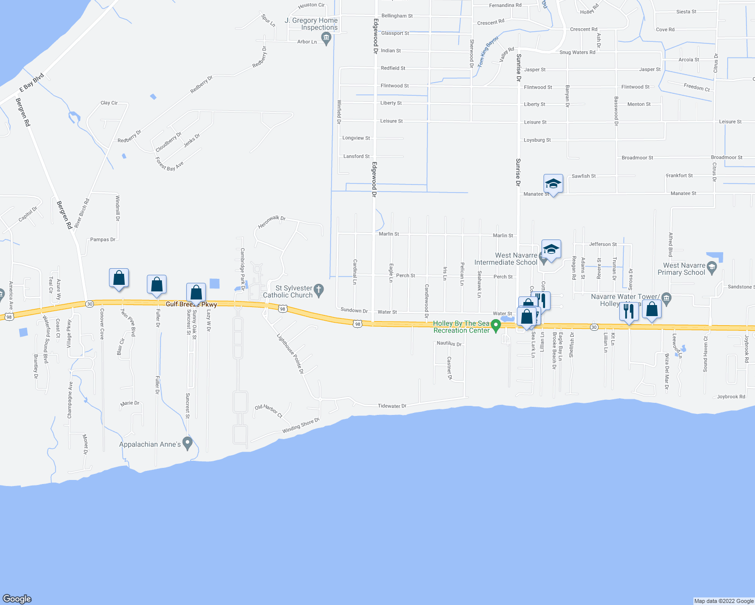 map of restaurants, bars, coffee shops, grocery stores, and more near 1832 Edgewood Drive in Navarre
