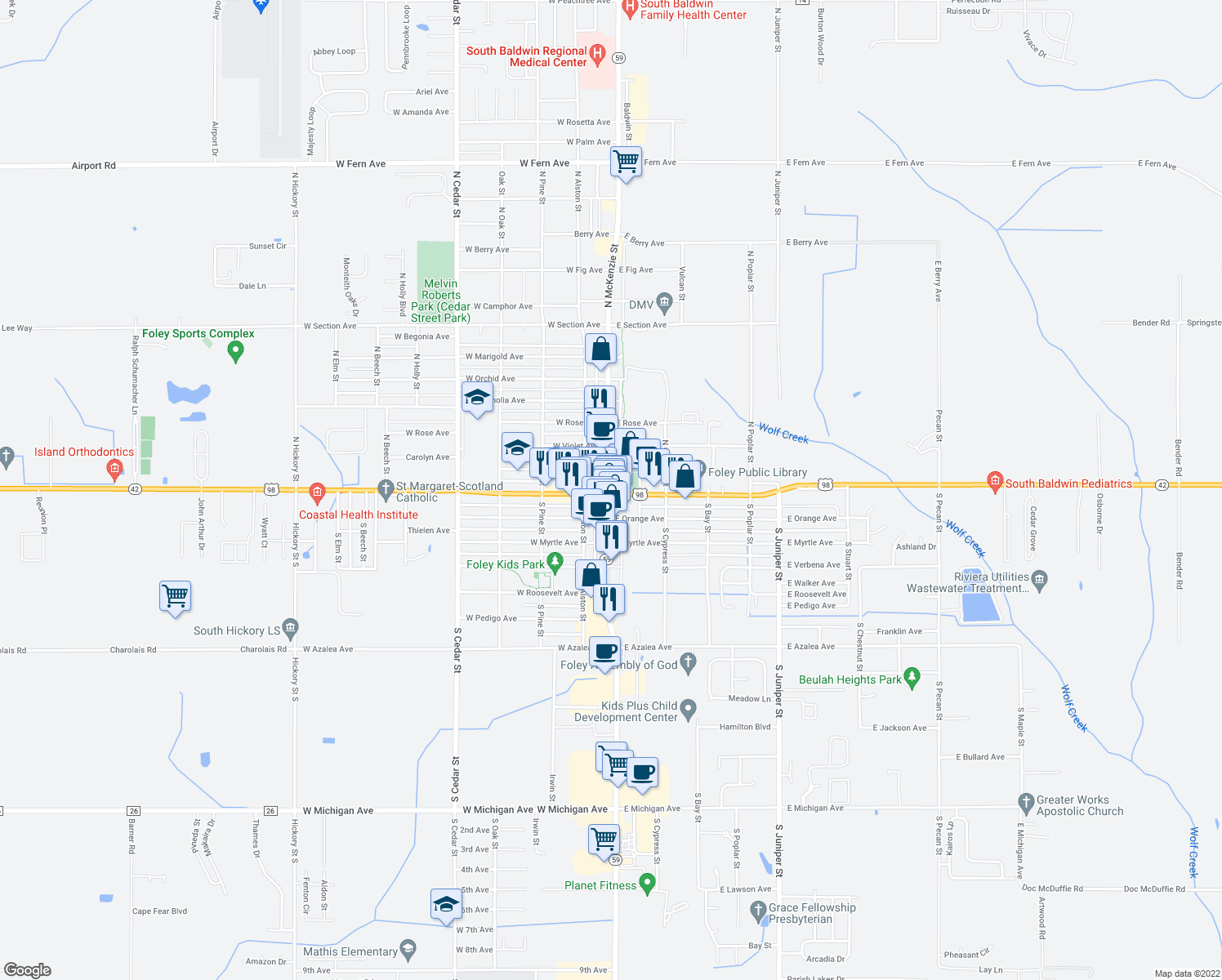 map of restaurants, bars, coffee shops, grocery stores, and more near in Foley