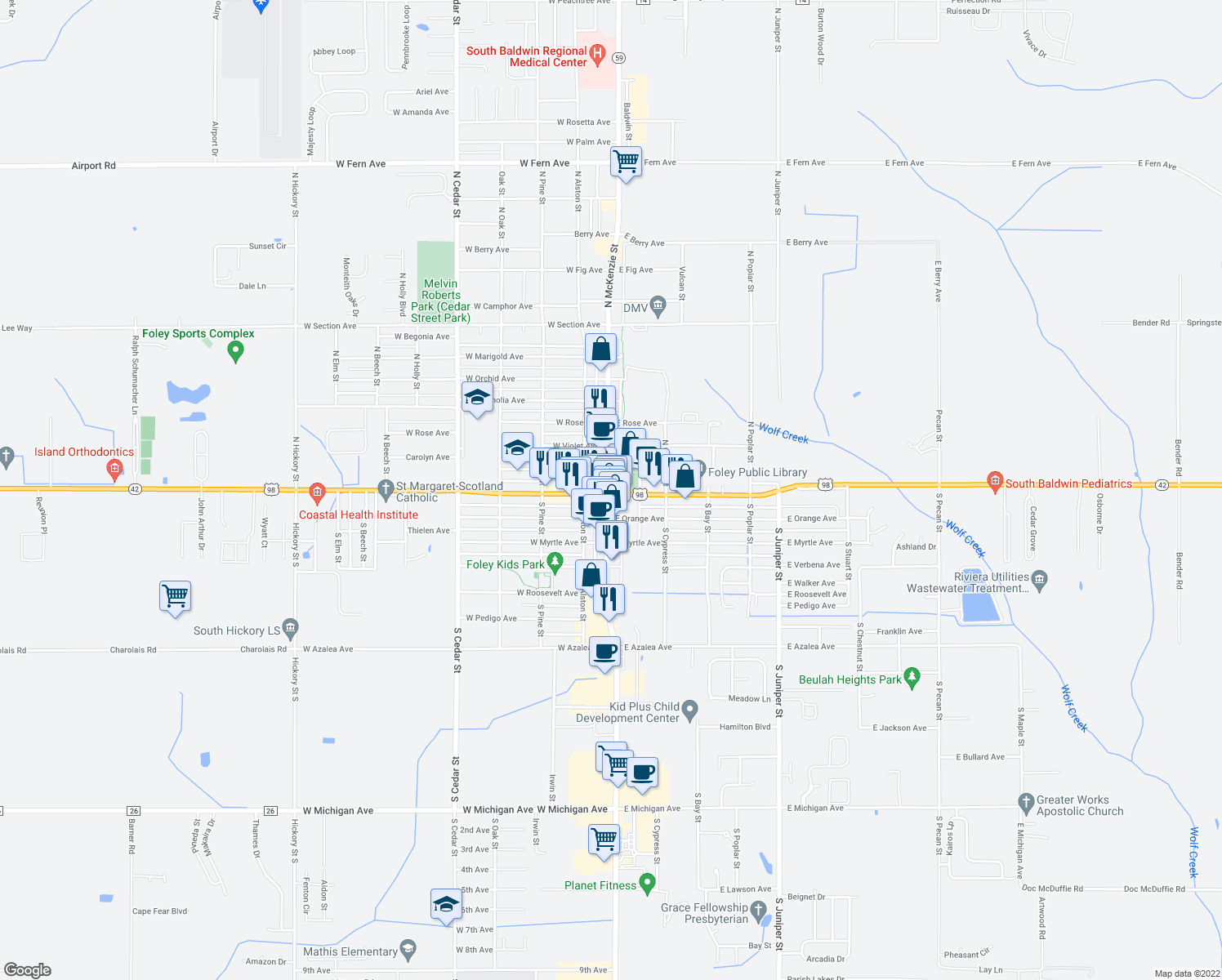 map of restaurants, bars, coffee shops, grocery stores, and more near 100 West Laurel Avenue in Foley