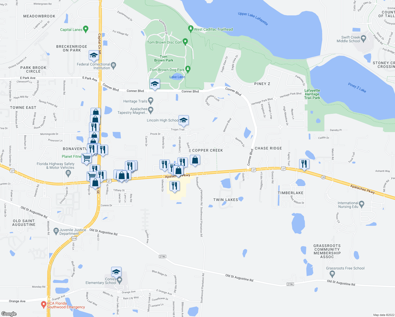 map of restaurants, bars, coffee shops, grocery stores, and more near 1099 Rockbrook Court in Tallahassee