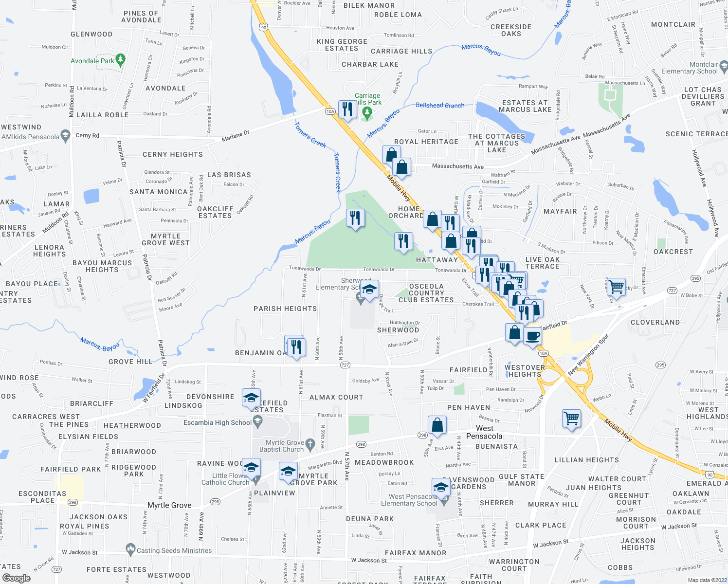 map of restaurants, bars, coffee shops, grocery stores, and more near 503 Cherokee Trail in Pensacola