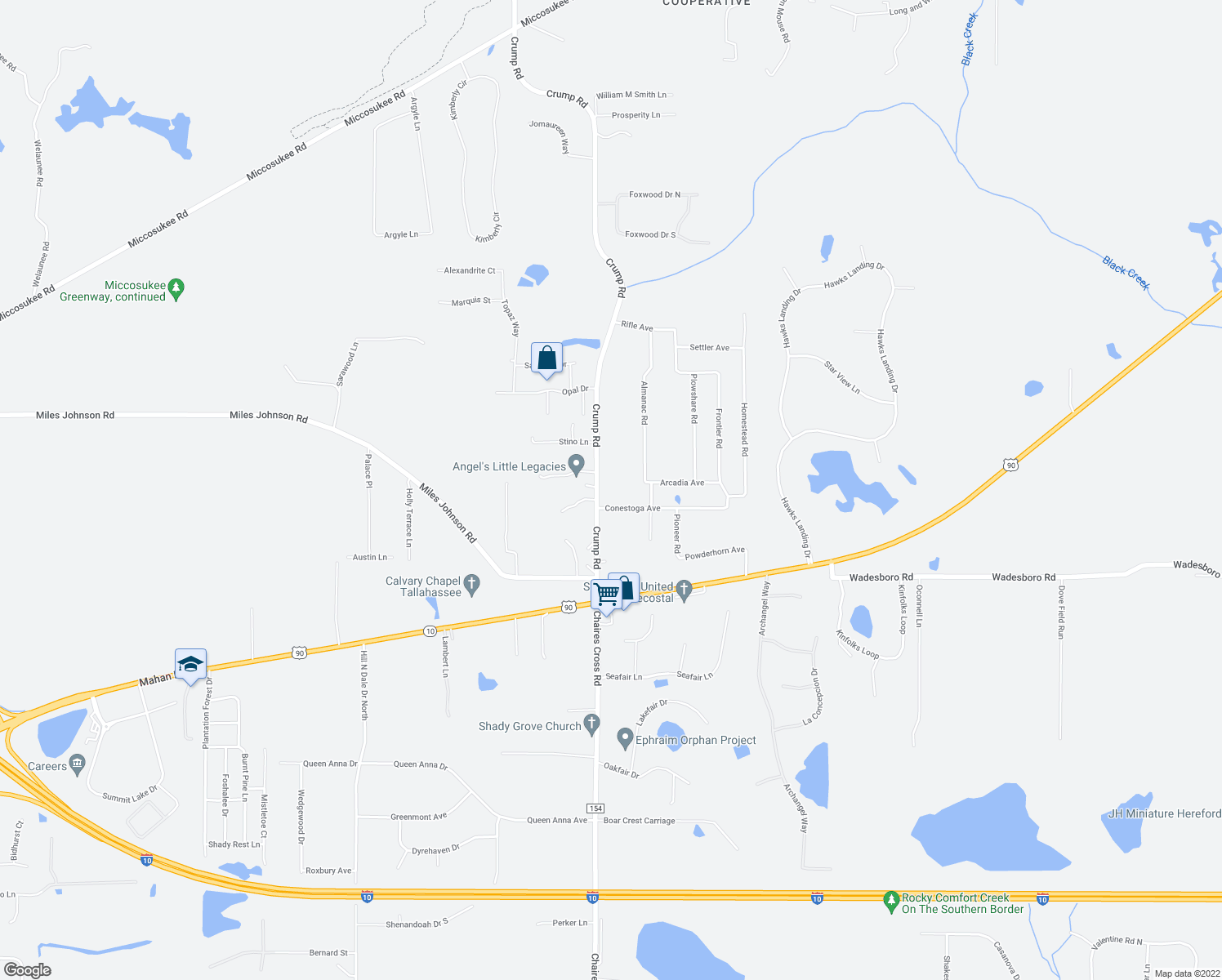 map of restaurants, bars, coffee shops, grocery stores, and more near 3331 Crump Road in Tallahassee