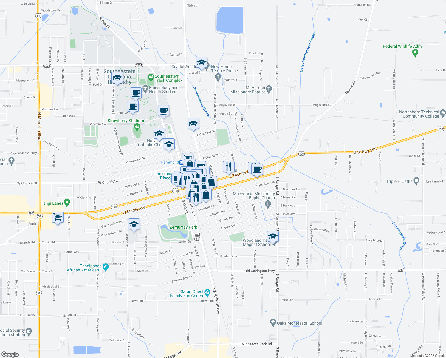 map of restaurants, bars, coffee shops, grocery stores, and more near 507 East Thomas Street in Hammond