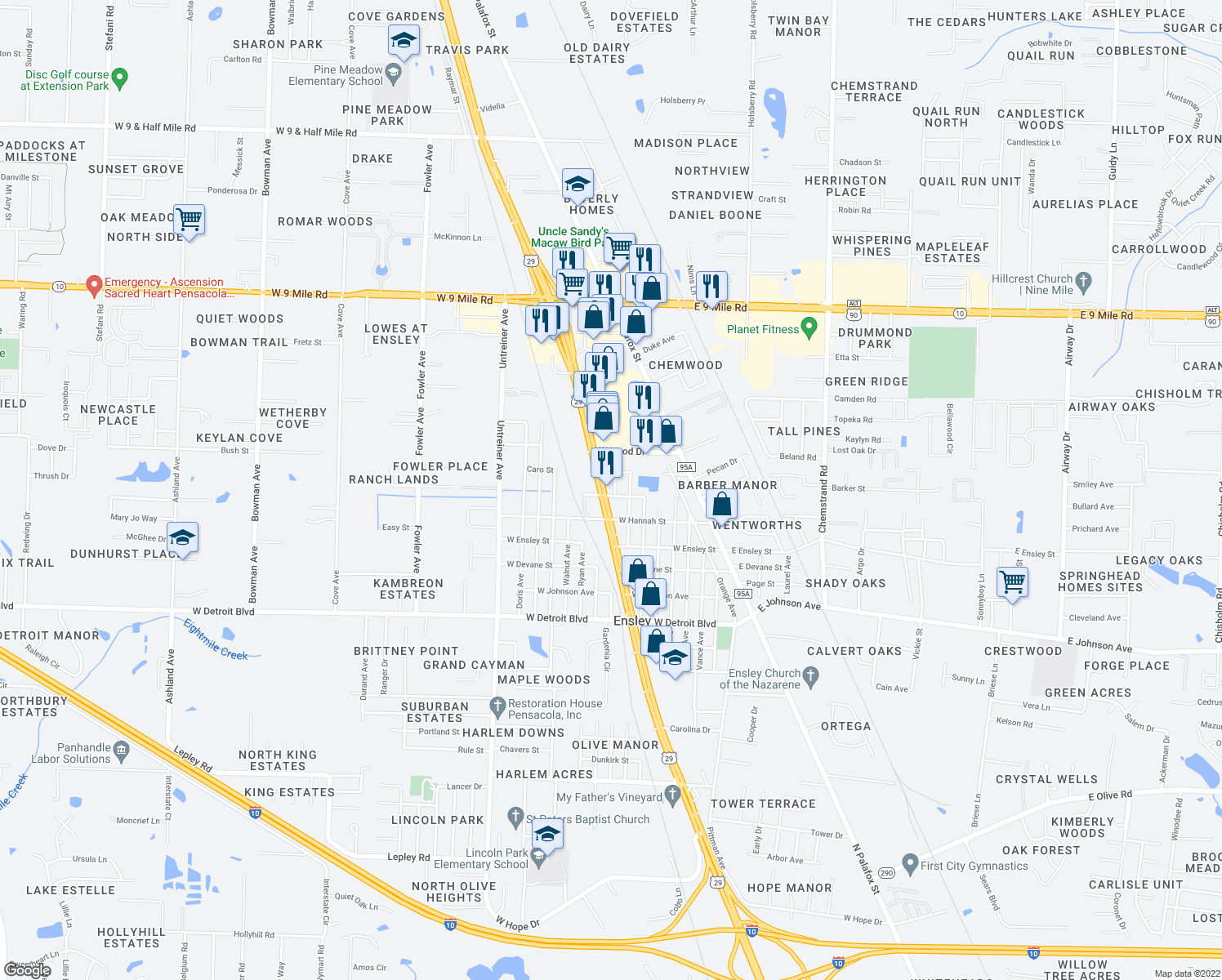 map of restaurants, bars, coffee shops, grocery stores, and more near 8710 Pensacola Boulevard in Pensacola