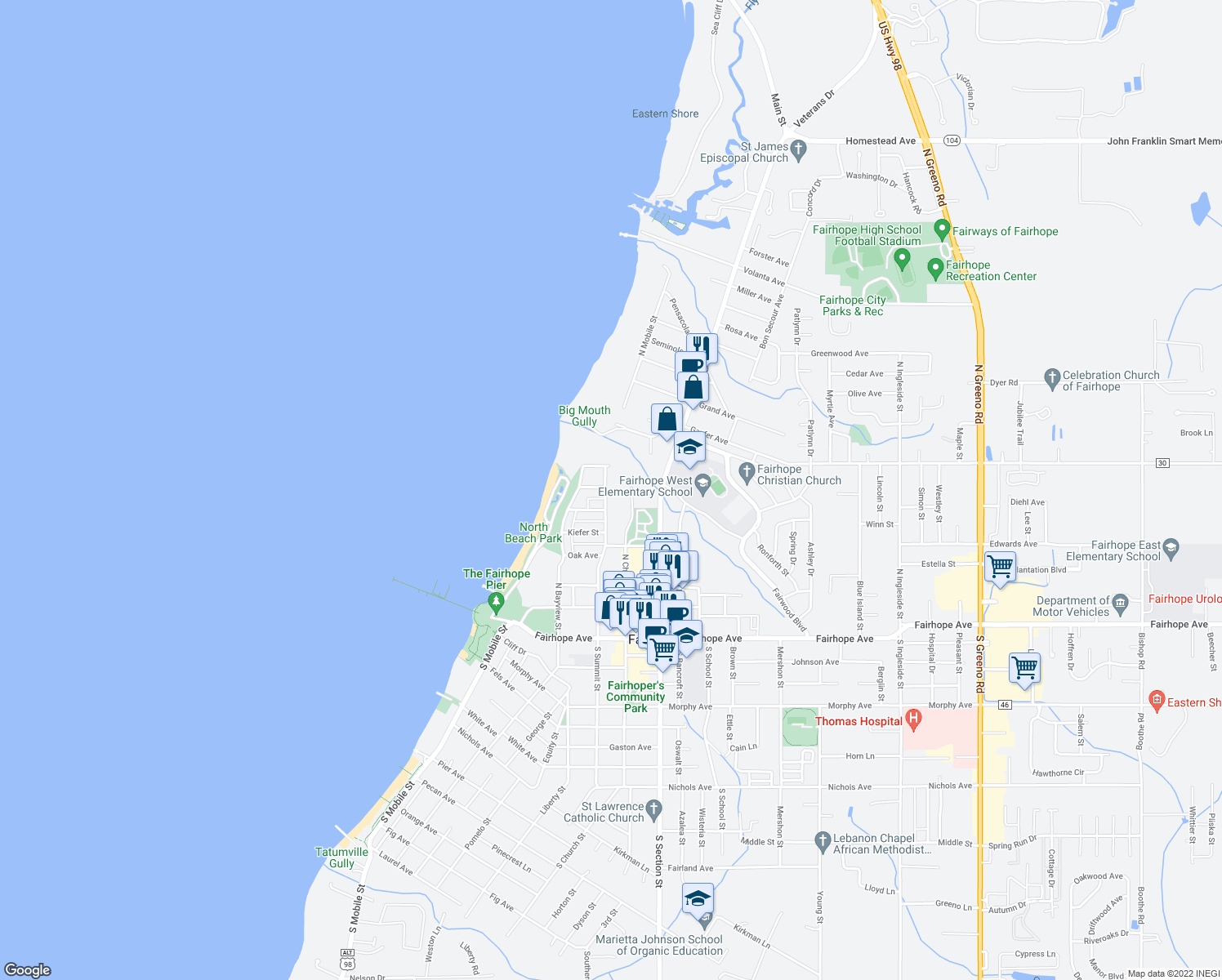 map of restaurants, bars, coffee shops, grocery stores, and more near 308 North Summit Street in Fairhope