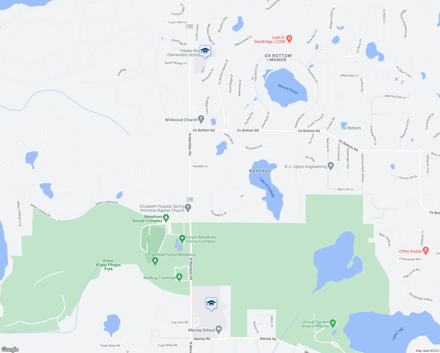 map of restaurants, bars, coffee shops, grocery stores, and more near 208 Rosehill Drive West in Tallahassee