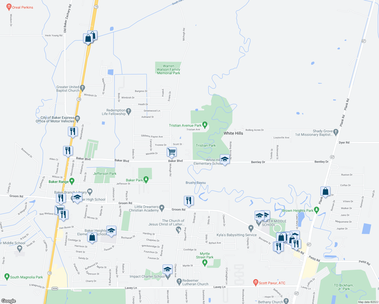 map of restaurants, bars, coffee shops, grocery stores, and more near 5159 Baker Boulevard in Baker