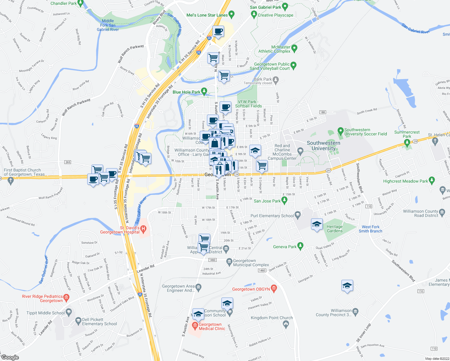 map of restaurants, bars, coffee shops, grocery stores, and more near Norcia Loop in Georgetown