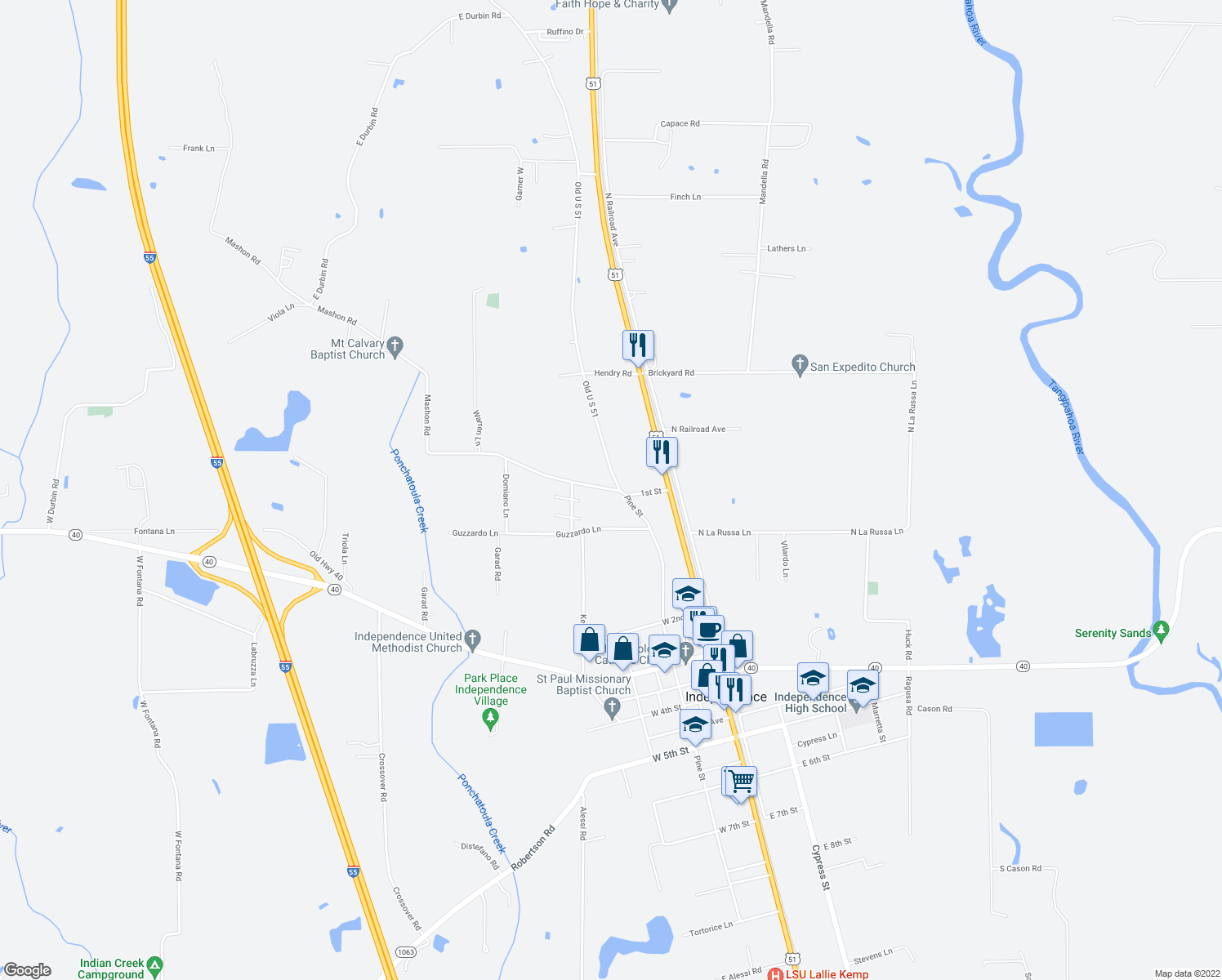 map of restaurants, bars, coffee shops, grocery stores, and more near 100-160 Mashon Road in Independence