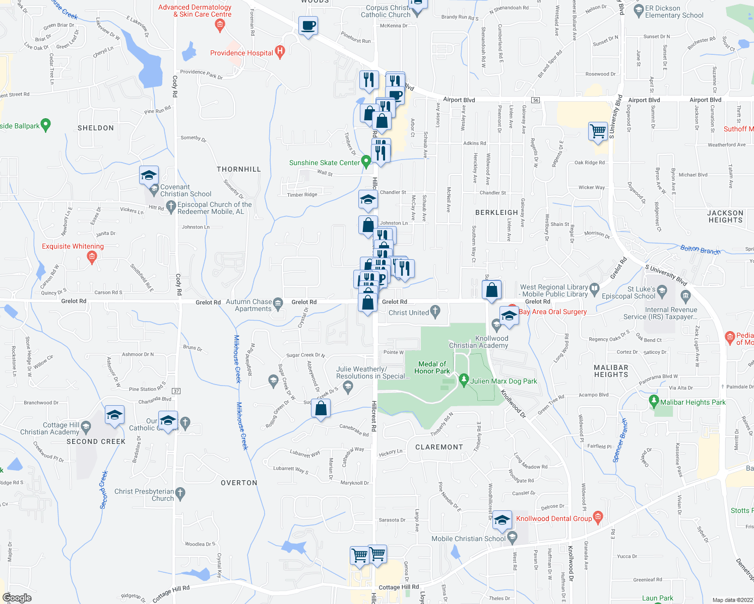 map of restaurants, bars, coffee shops, grocery stores, and more near Hillcrest Rd & Grelot Rd in Mobile