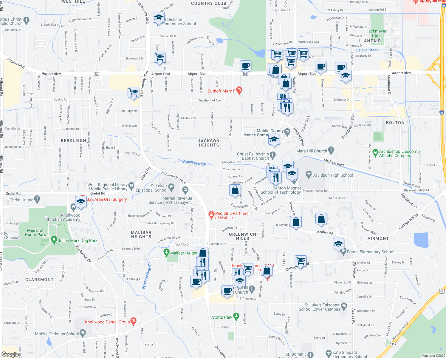 map of restaurants, bars, coffee shops, grocery stores, and more near 311 Evergreen Hill in Mobile