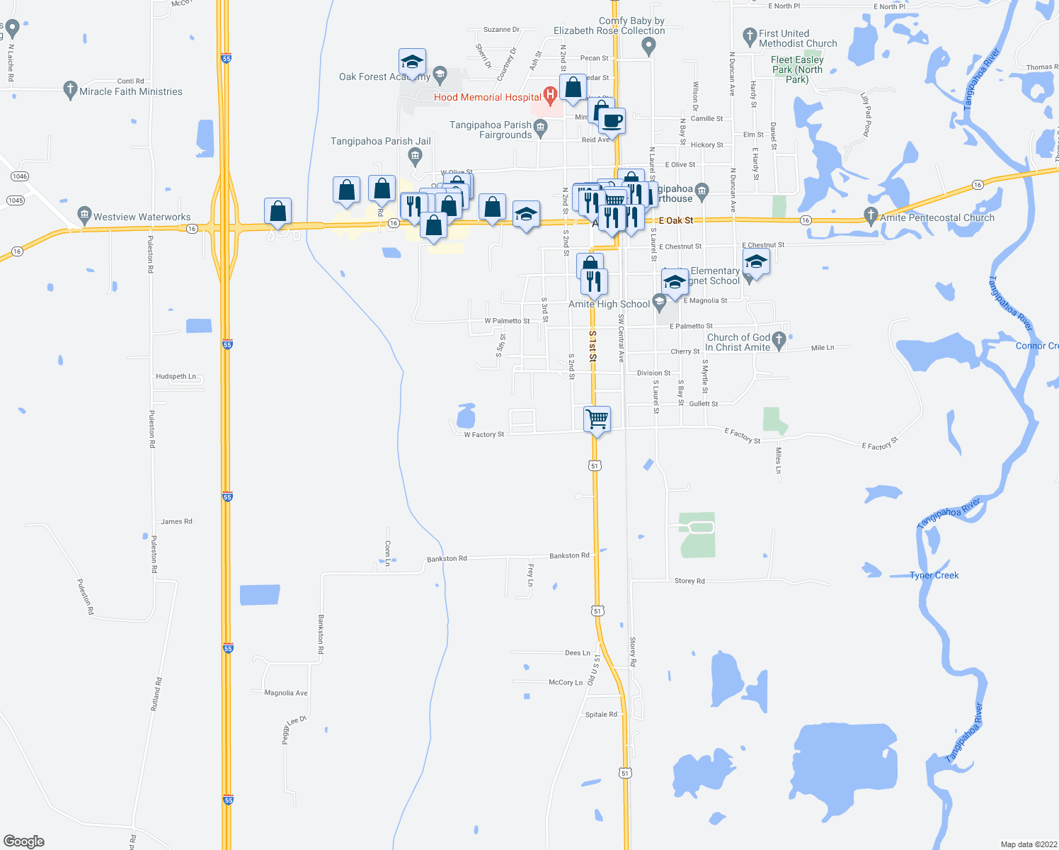 map of restaurants, bars, coffee shops, grocery stores, and more near 330-348 West Factory Street in Amite City