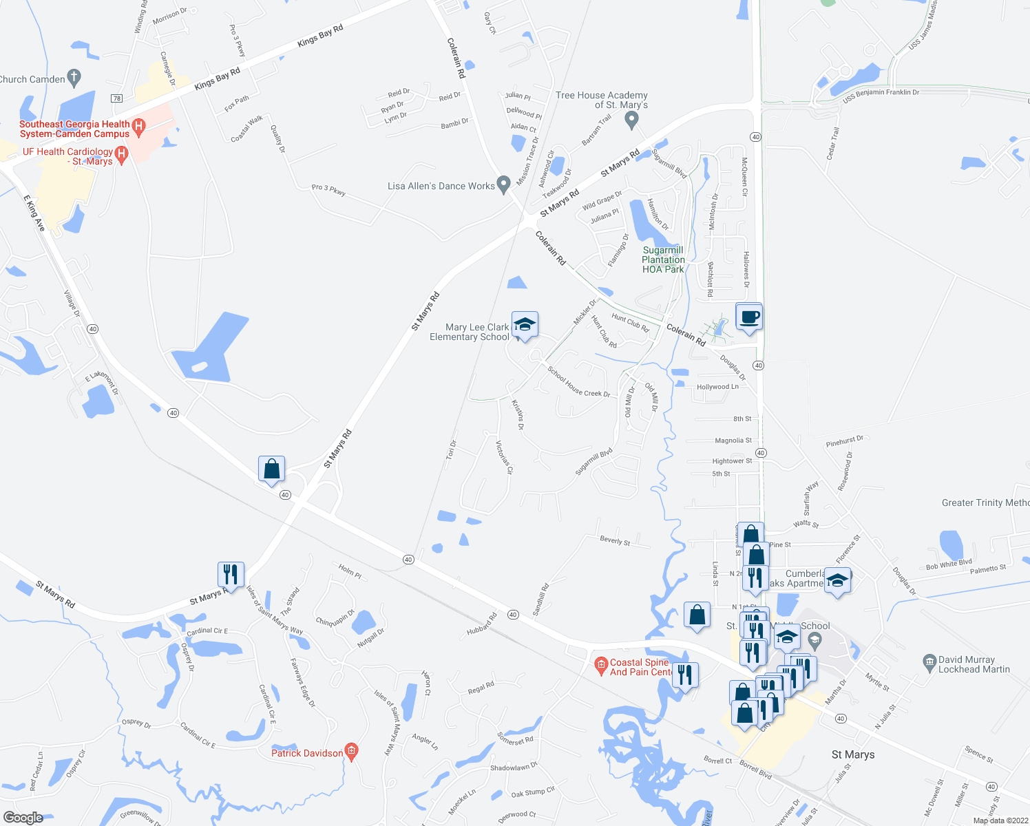 map of restaurants, bars, coffee shops, grocery stores, and more near 53 Kristins Drive in St. Marys