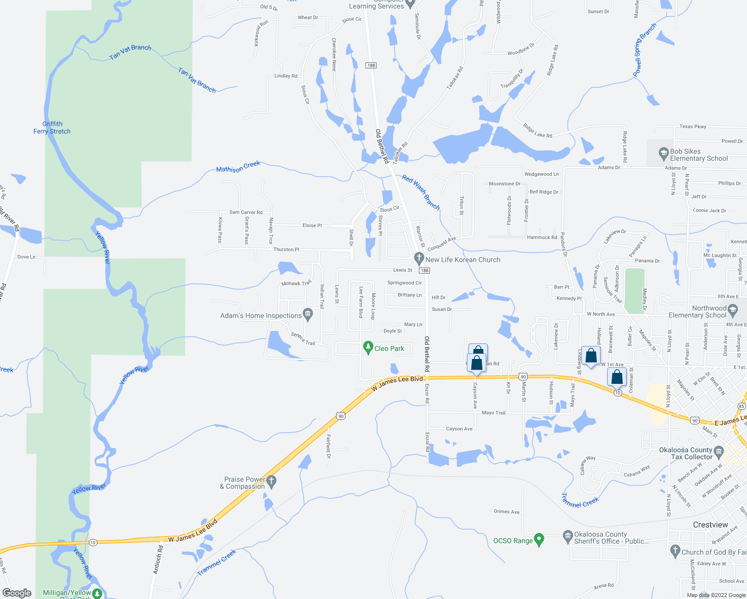 map of restaurants, bars, coffee shops, grocery stores, and more near 5273 Moore Loop in Crestview