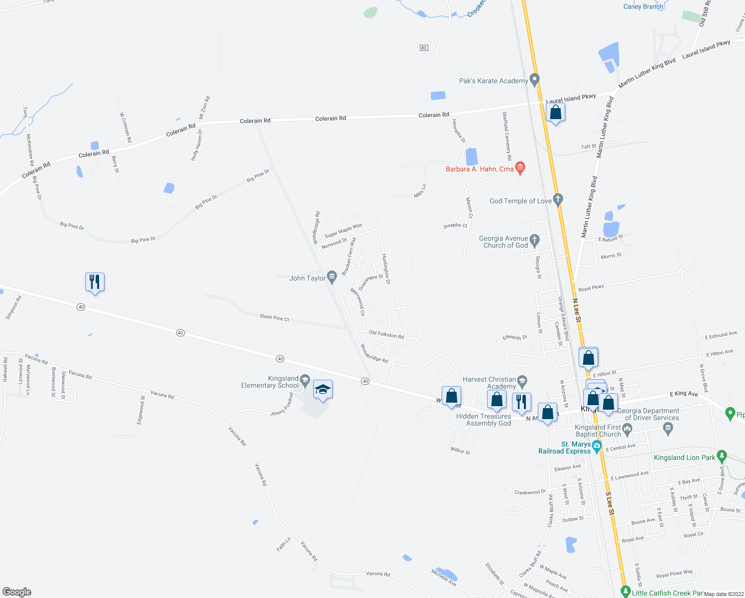 map of restaurants, bars, coffee shops, grocery stores, and more near 304 Foxwood Drive in Kingsland