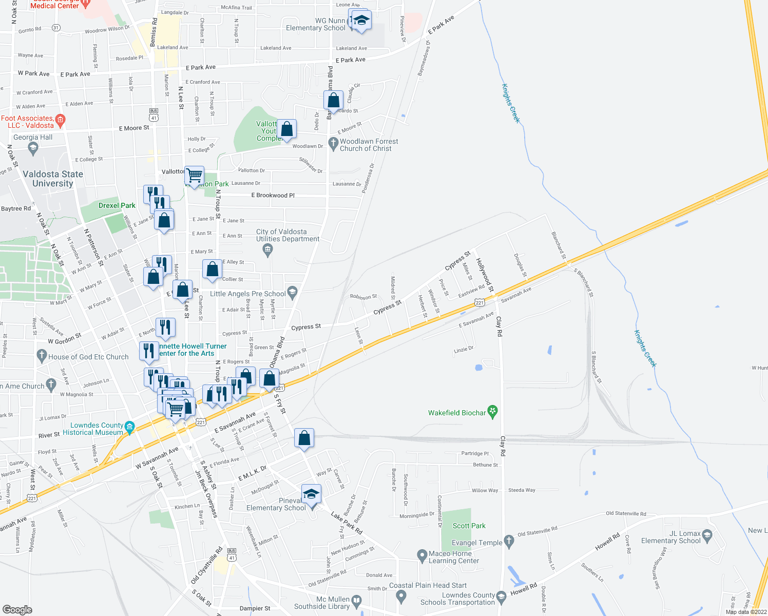 map of restaurants, bars, coffee shops, grocery stores, and more near 1176-1198 Robinson Street in Valdosta