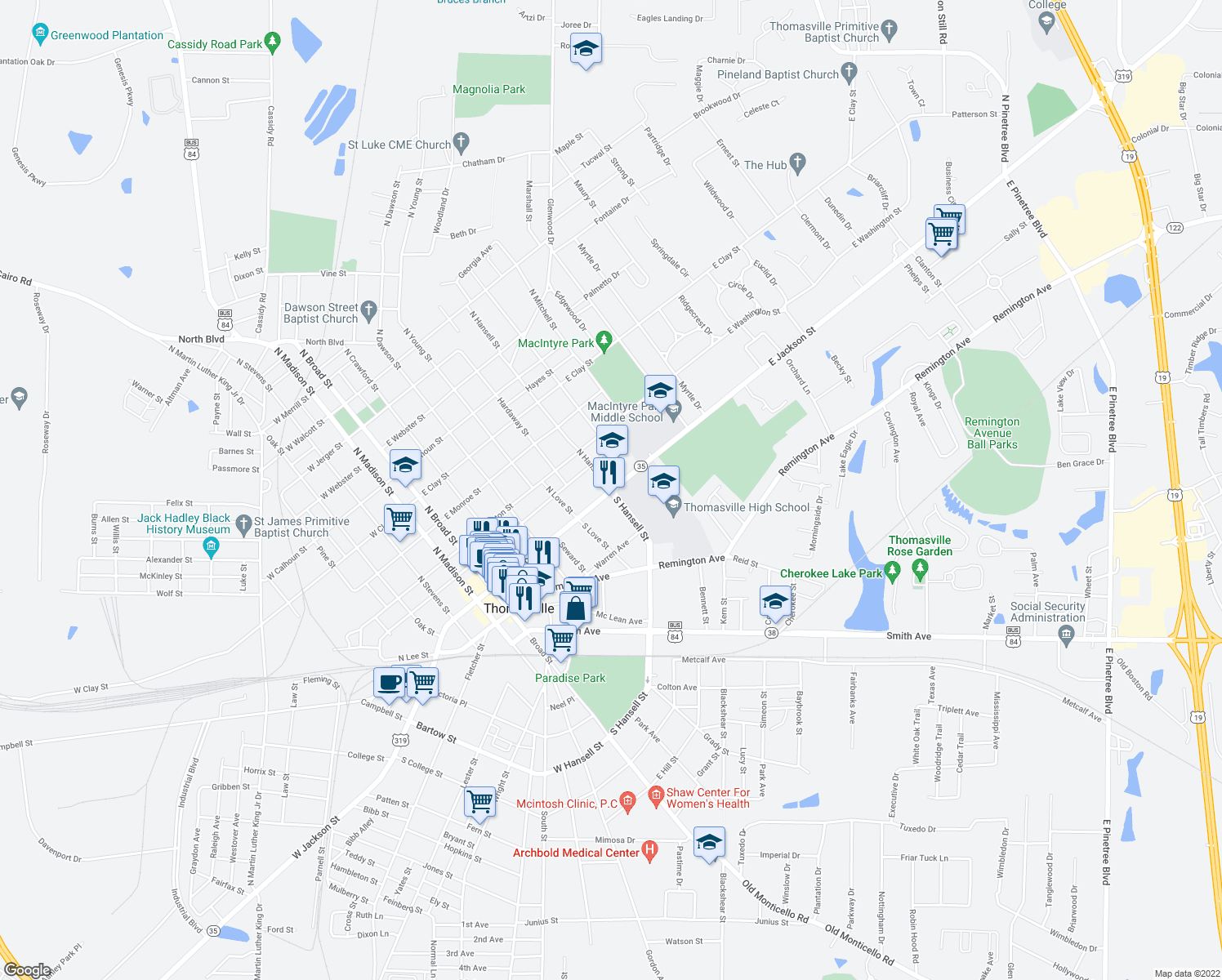 map of restaurants, bars, coffee shops, grocery stores, and more near 444 East Jackson Street in Thomasville