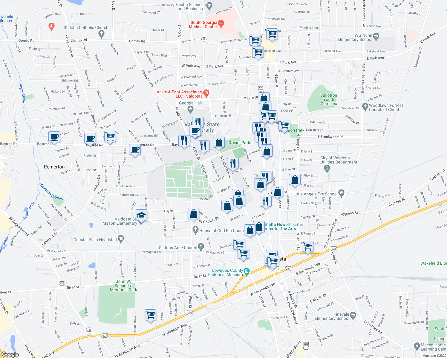 map of restaurants, bars, coffee shops, grocery stores, and more near 146 West Ann Street in Valdosta