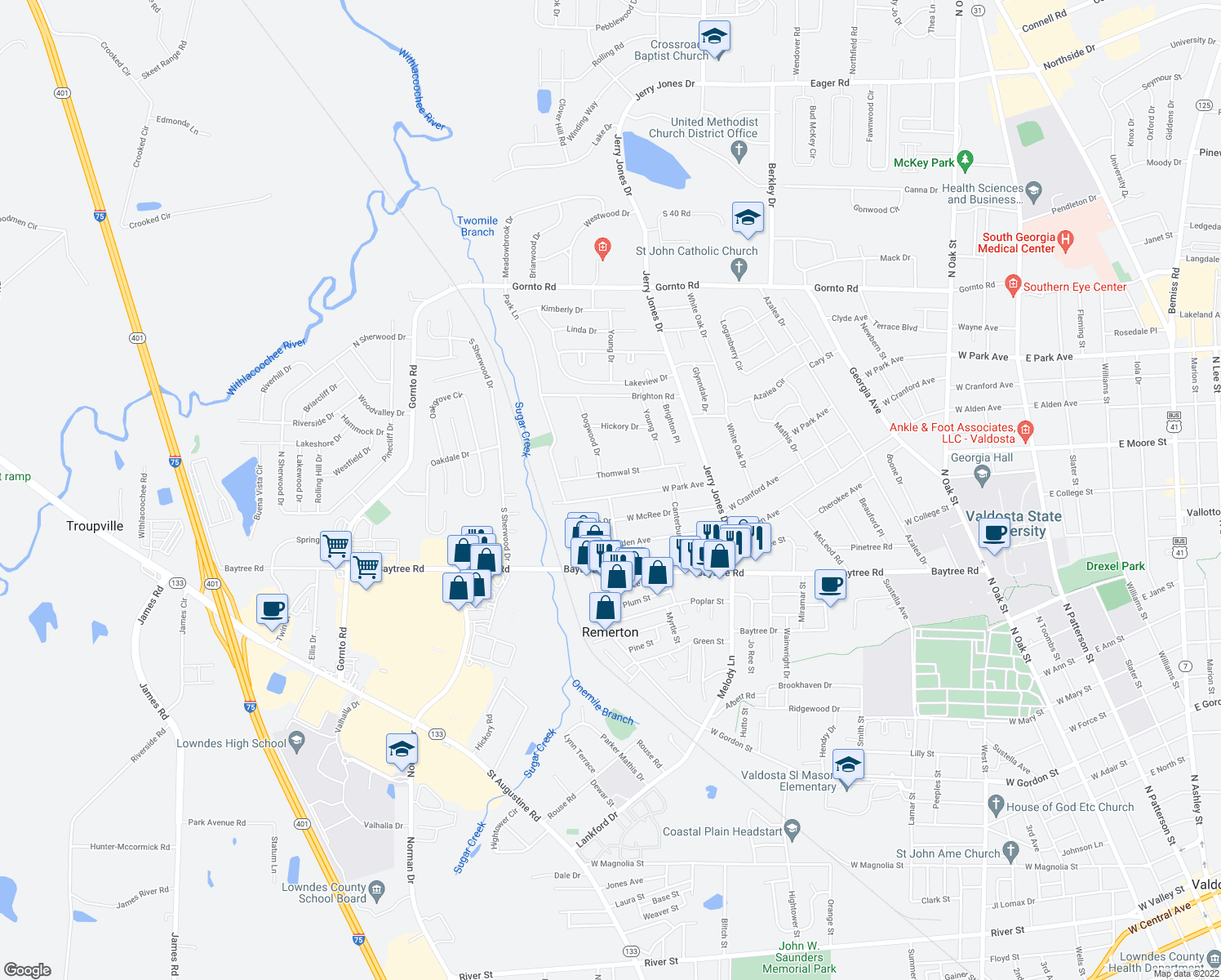 map of restaurants, bars, coffee shops, grocery stores, and more near 1220 West Park Avenue in Valdosta