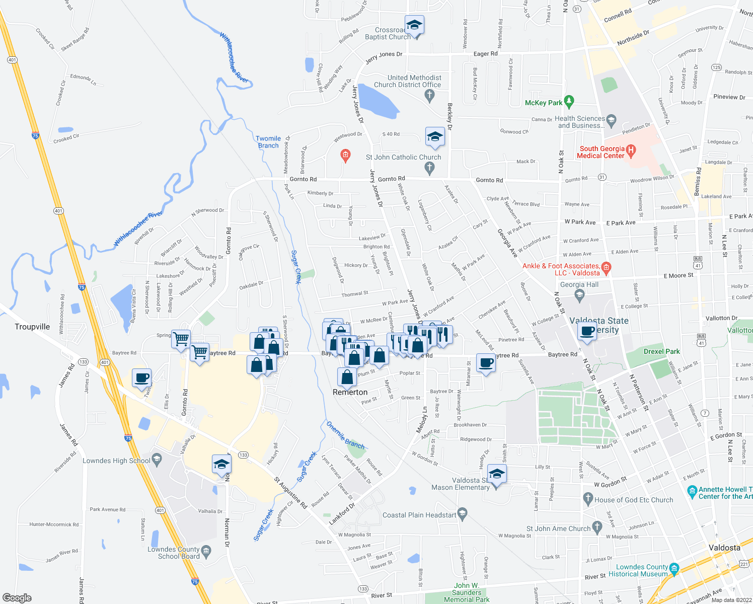 map of restaurants, bars, coffee shops, grocery stores, and more near 1210 West Park Avenue in Valdosta