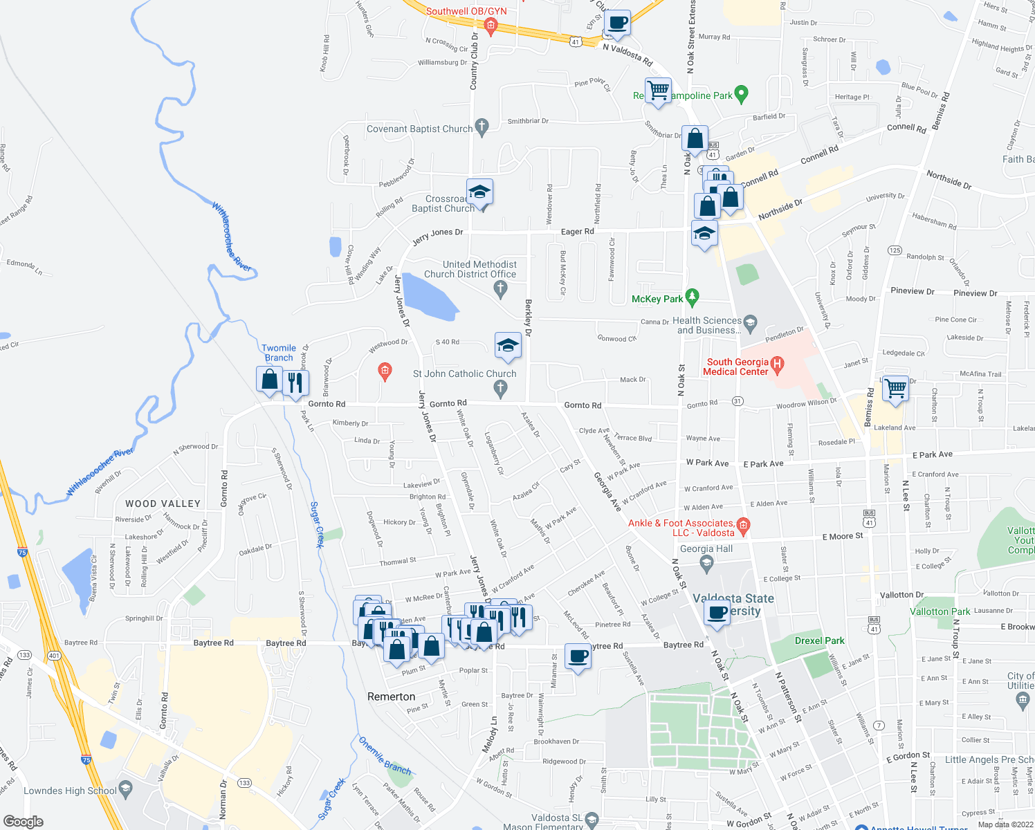 map of restaurants, bars, coffee shops, grocery stores, and more near 2312 Azalea Drive in Valdosta