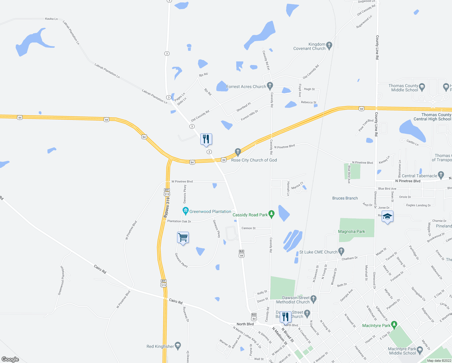 map of restaurants, bars, coffee shops, grocery stores, and more near 1227-1299 Albany Road in Thomasville