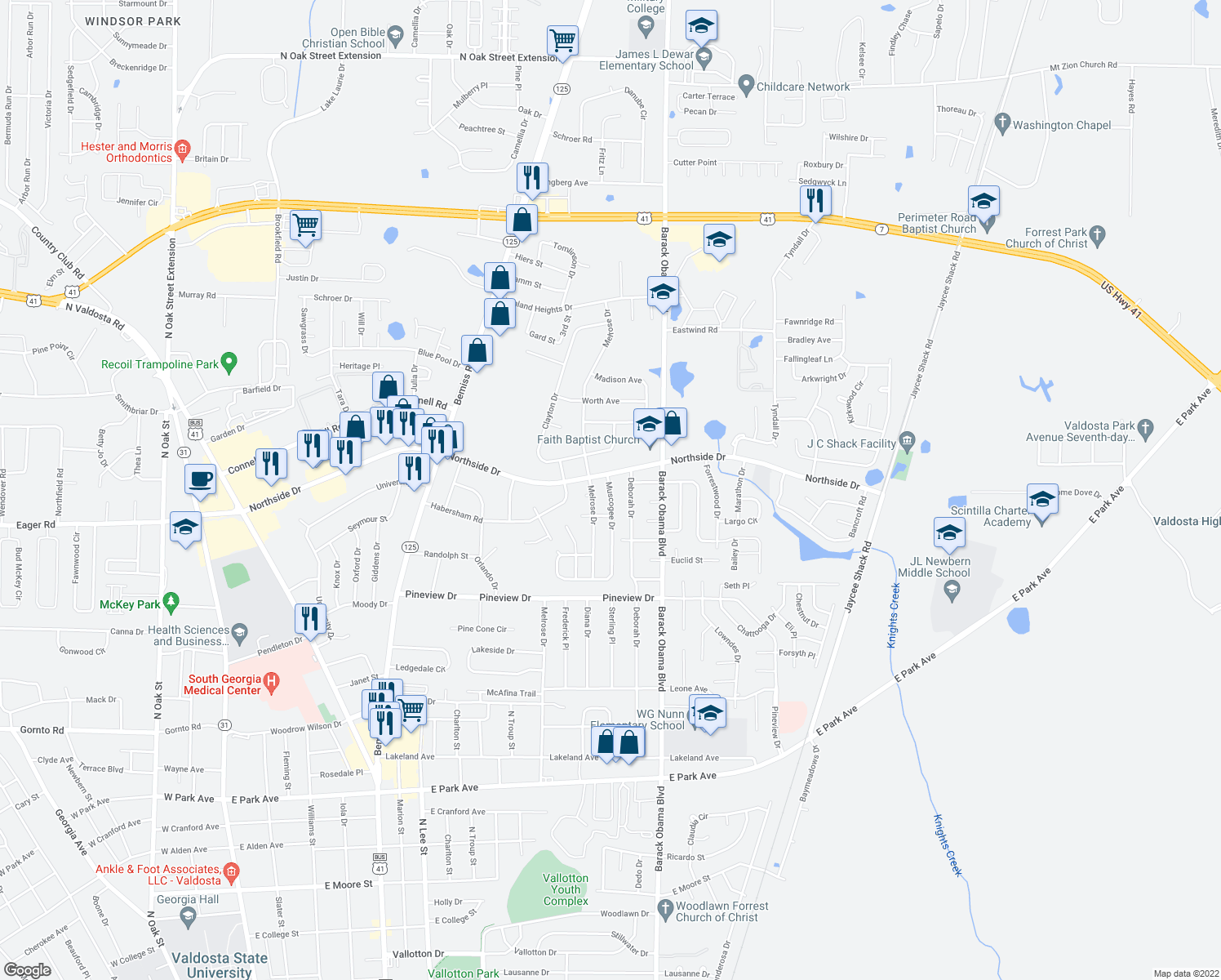 map of restaurants, bars, coffee shops, grocery stores, and more near 2514 Deborah Drive in Valdosta