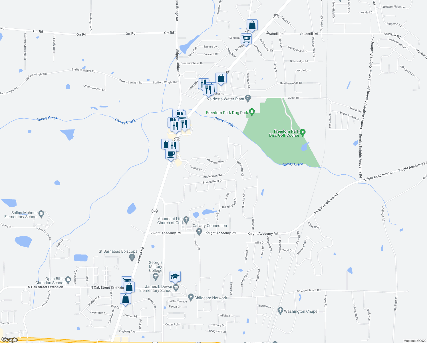 map of restaurants, bars, coffee shops, grocery stores, and more near 3989 Applecross Road in Valdosta