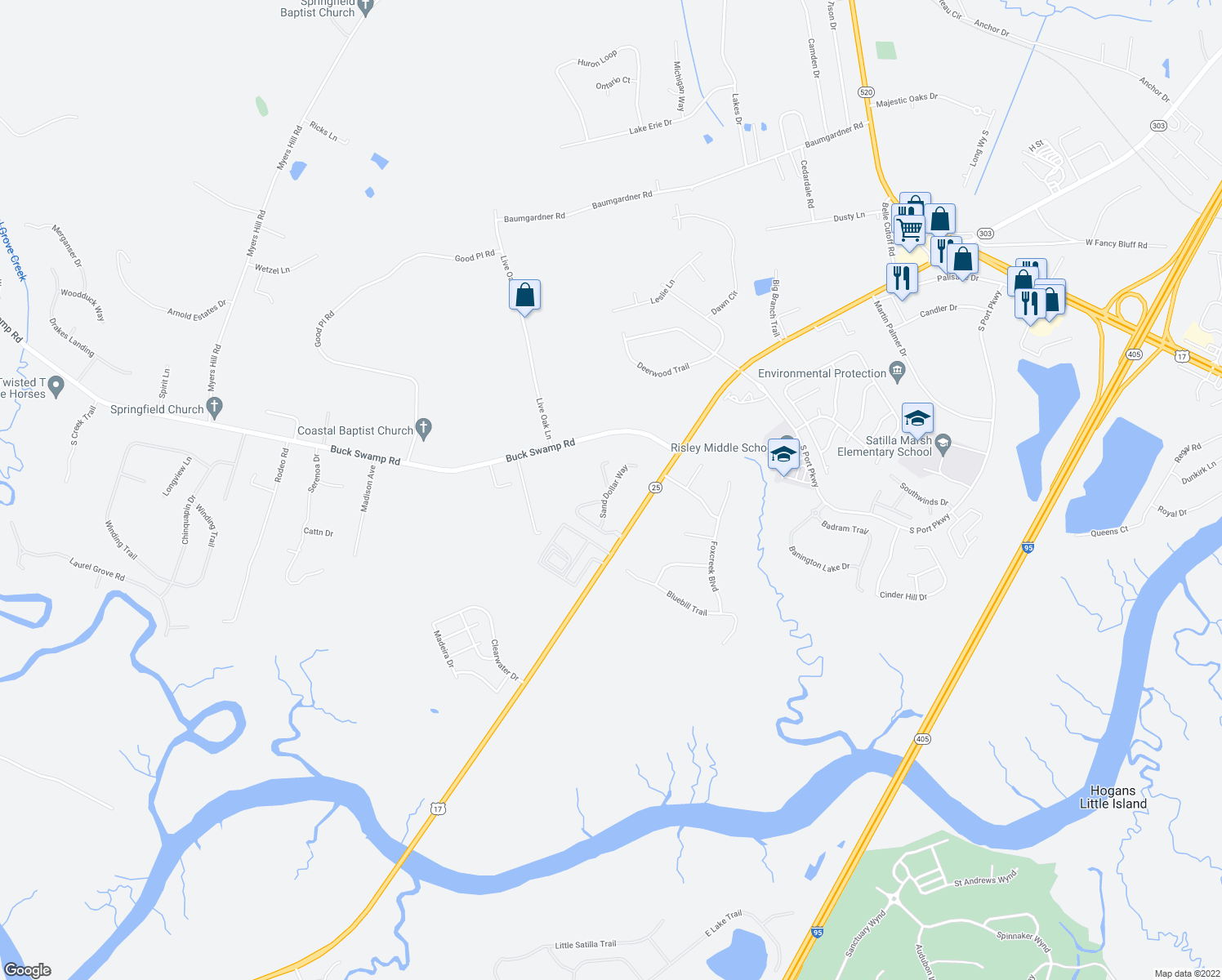map of restaurants, bars, coffee shops, grocery stores, and more near Sand Dollar Way in Brunswick