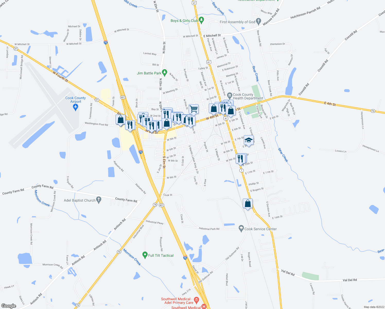 map of restaurants, bars, coffee shops, grocery stores, and more near 327 South Martin Luther King Junior Drive in Adel