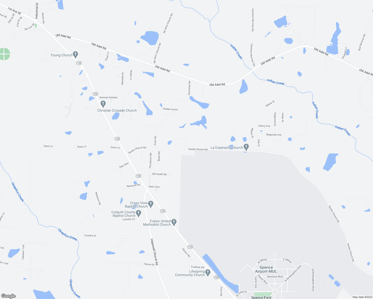 map of restaurants, bars, coffee shops, grocery stores, and more near Dorminey Road in Moultrie
