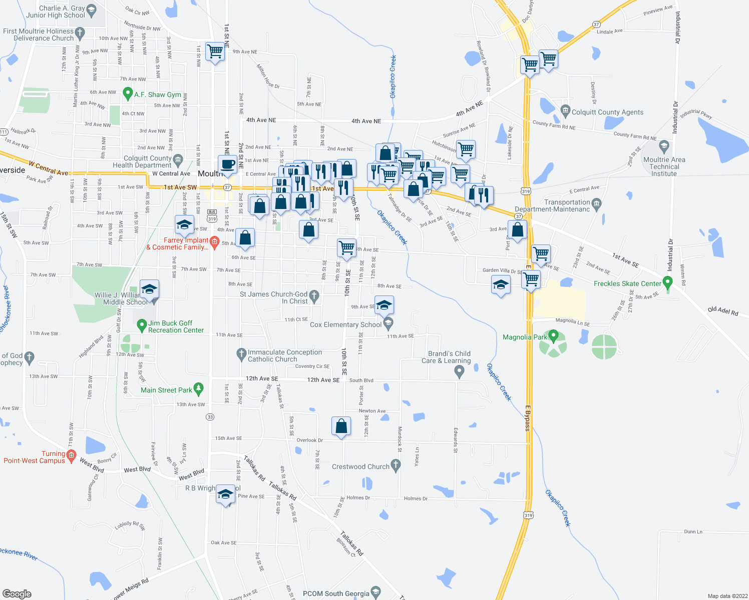 map of restaurants, bars, coffee shops, grocery stores, and more near 823 9th Avenue Southeast in Moultrie
