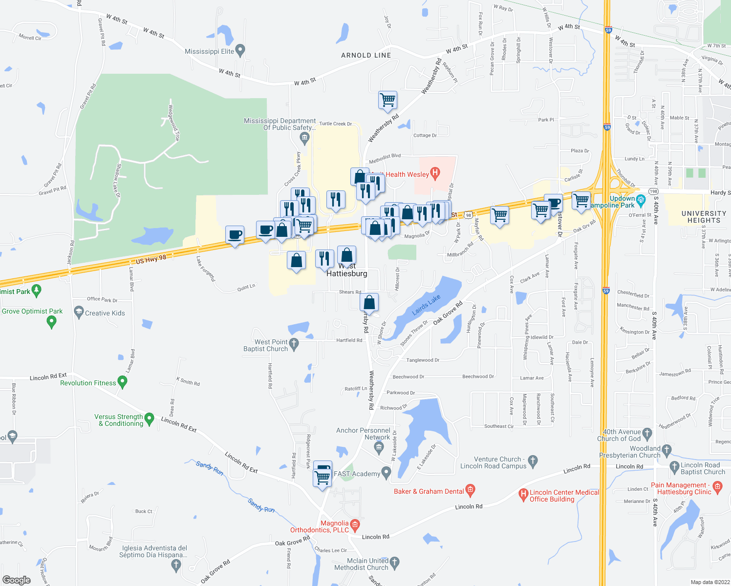 map of restaurants, bars, coffee shops, grocery stores, and more near Weathersby Rd & Shears Rd in West Hattiesburg