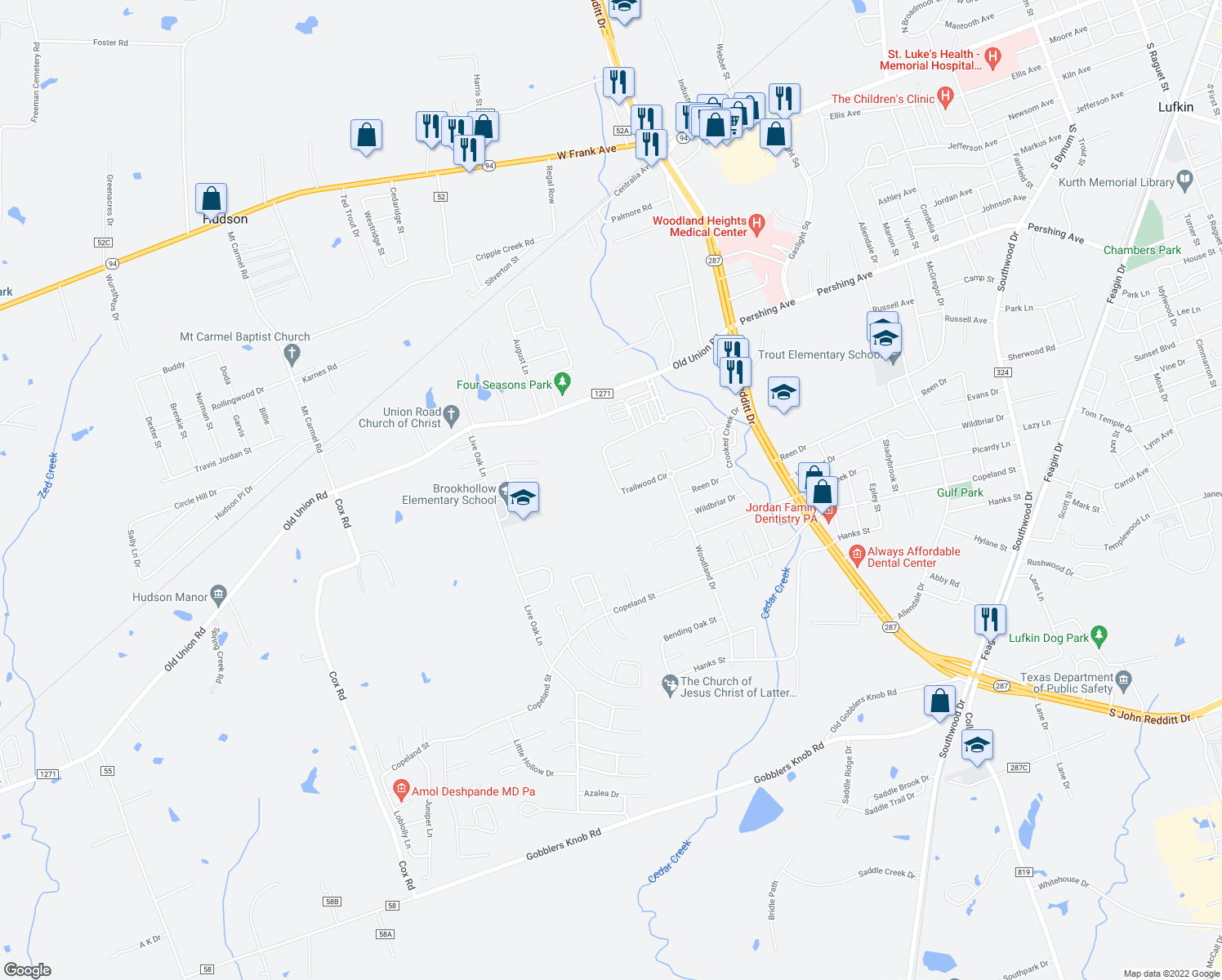 map of restaurants, bars, coffee shops, grocery stores, and more near 221 Trailwood Circle in Lufkin