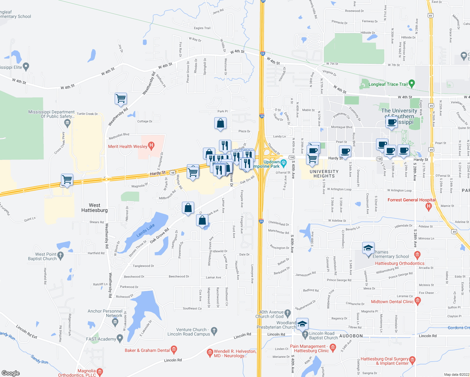 map of restaurants, bars, coffee shops, grocery stores, and more near 108 Westover Drive in Hattiesburg